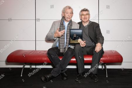 Ian McKellen and Richard Loncraine pose for photographers during a photo call for the launch of the Ipad app 'â?˜Heuristic Shakespeare - The Tempest'' in London