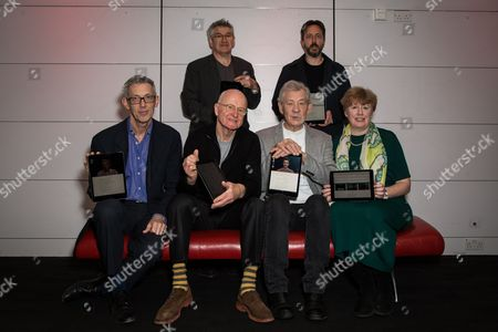Fom left, Jonathan Bate, Richard Loncraine, Patrick Uden, Ian McKellen, Toby Evetts and Margaret Bartley pose for photographers during a photo call for the launch of the Ipad app 'â?˜Heuristic Shakespeare - The Tempest'' in London