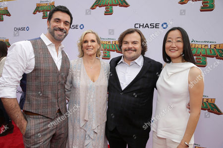 Stock Picture of Director Alessandro Carloni, Producer Melissa Cobb, Jack Black and Director Jennifer Yuh seen at DreamWorks Animation and Twentieth Century Fox World Premiere of 'Kung Fu Panda 3' at TCL Chinese Theater, in Hollywood, CA