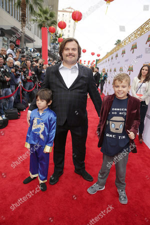 Stock Image of Thomas David Black, Jack Black and Samuel Jason Black seen at DreamWorks Animation and Twentieth Century Fox World Premiere of 'Kung Fu Panda 3' at TCL Chinese Theater, in Hollywood, CA