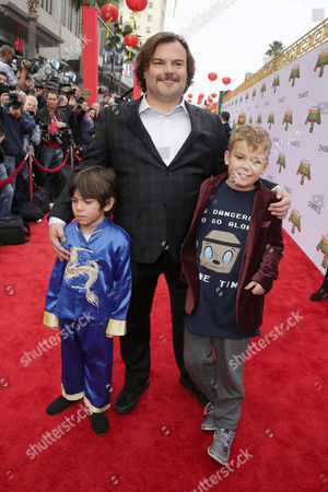 Stock Picture of Thomas David Black, Jack Black and Samuel Jason Black seen at DreamWorks Animation and Twentieth Century Fox World Premiere of 'Kung Fu Panda 3' at TCL Chinese Theater, in Hollywood, CA
