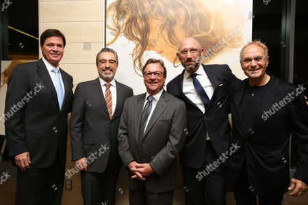 """Stock Photo of Producers Tracy K. Price, Michael Barnathan, Mark Radcliffe and executive producers Mark Burton and Enzo Sisti seen at the Focus Features """"The Young Messiah"""" Screening at Cinemark Playa Vista on in Los Angeles"""