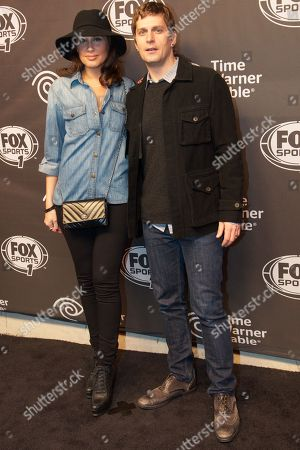Singer/songwriter Rob Thomas (R) and model Marisol Maldonado arrive at Fox Sports 1 Thursday Night Super Bash at Time Warner Cable Studios, in New York