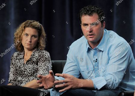 "Meredith Stiehm, left, and Elwood Reid, executive producers of ""The Bridge,"" take part in a panel discussion on the show during the FX 2013 Summer TCA press tour at the Beverly Hilton Hotel on in Beverly Hills, Calif"