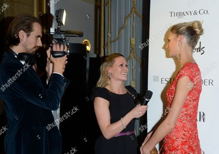 Jaquetta Wheeler, right, is seen being interviewed at the Harper's Bazaar Woman of the Year Awards 2012 in association with Estee Lauder, Harrods and Tiffany & Co. at Claridge's Hotel on in London