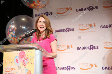 "Stock Picture of LeAnn Morrissey, the founder of Operation Shower, speaks at a baby shower for military moms-to-be by Heidi Klum's Truly Scrumptious Collection and Babies""R""Us at The Globe Theatre at Universal Studios Hollywood on in Universal City, Calif"