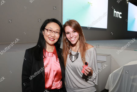 HTC's co-founder and chairwoman, Cher Wang and Vine star and HTC Creatographer, Amymarie Gaertner seen at HTC Presents Double Exposure at Skylight at Moynihan, on in New York