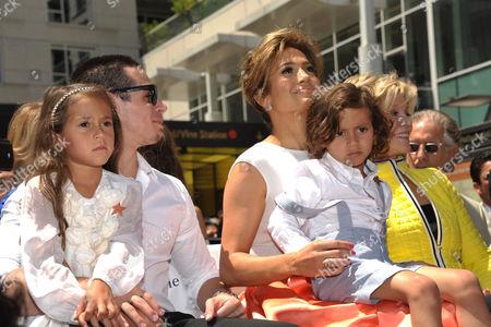 "From left, Beau ""Casper"" Smart, Emme Maribel Muniz, Maximilian David Muniz, Jennifer Lopez, and Jane Fonda appear at Lopez' star ceremony on the Hollywood Walk of Fame on in Los Angeles"