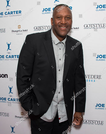 Joe Carter seen on the red carpet at the Joe Carter Classic after party at the Shangri-La Hotel, in Toronto, Canada