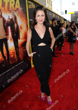 """Stock Photo of Courtney James Clark arrives at the Los Angeles premiere of """"American Ultra"""" at the Ace Hotel on"""