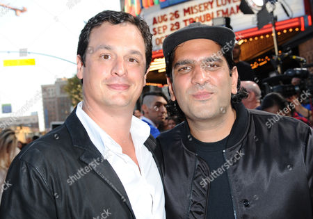 """David Alpert, left, and Nima Nourizadeh arrive at the Los Angeles premiere of """"American Ultra"""" at the Ace Hotel on"""