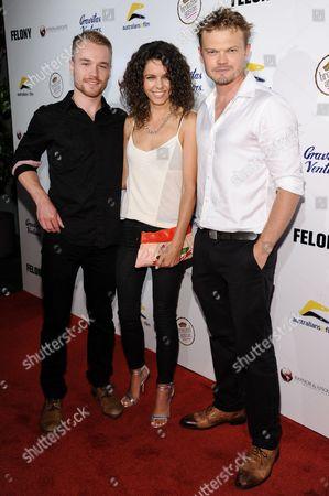 "From left, Sam Clark, Miranda Skerman, and Nikolai Nikolaeff arrive at the LA Premiere Of ""Felony"", in Los Angeles"