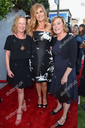 "Claudia Lewis, from left, Connie Britton and Nancy Utley arrive at LA Premiere Of ""Me And Earl and The Dying Girl"" Red Carpet at Harmony Gold Theater, in Los Angeles"