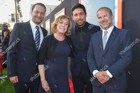 """Dan Fogelman, left, Nancy Utley, Alfonso Gomez-Rejon, and Jeremy Dawson arrive at LA Premiere Of """"Me And Earl and The Dying Girl"""" Red Carpet at Harmony Gold Theater, in Los Angeles"""