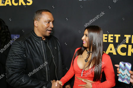 """Director Deon Taylor and Liana Mendoza are seen at """"Meet the Blacks"""" Premiere at the ArcLight Hollywood, in Los Angeles"""