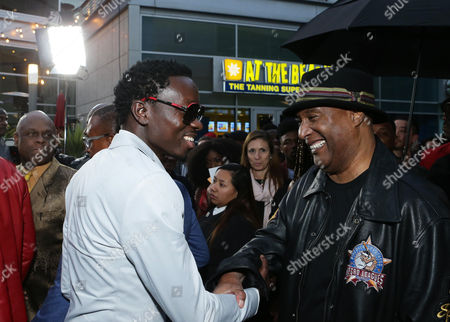 "Michael Blackson and Paul Mooney are seen at ""Meet the Blacks"" Premiere at the ArcLight Hollywood, in Los Angeles"