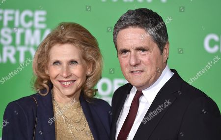 "Shari Redstone, vice chair of the board of directors, Viacom Inc. and CBS Corporation, left, and Paramount CEO Brad Grey arrive at the Los Angeles premiere of ""Office Christmas Party"" at the Village Theatre Westwood on"