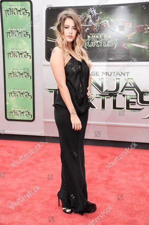 """Moxie Raia arrives at the LA Premiere of """"Teenage Mutant Ninja Turtles"""", in Los Angeles"""