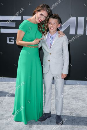 """Teri Wyble, left, and Nolan Gross arrive at the LA Premiere of """"Terminator Genisys"""" at the Dolby Theatre, in Los Angeles"""