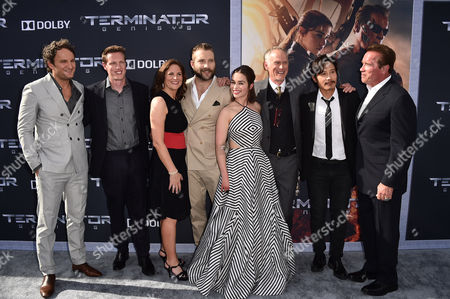 "Jason Clarke, David Ellison, Dana Goldberg, Jai Courtney, Emilia Clarke, Alan Taylor, Byung-hun Lee and Arnold Schwarzenegger arrive at the LA Premiere of ""Terminator Genisys"" at Dolby Theater on in Los Angeles"