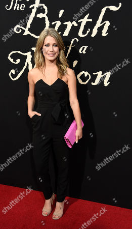 "Stock Picture of Katie Garfield, a cast member in ""The Birth of a Nation,"" poses at the premiere of the film at the Cinerama Dome, in Los Angeles"