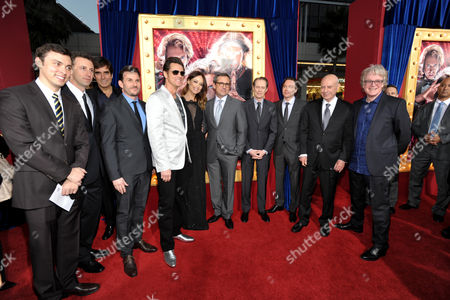 "From left, writers John Francis Daley and Jonathan Goldstein, illusionist David Copperfield, producer Chris Bender, actors Jim Carrey, Olivia Wilde Steve Carell and Steve Buscemi, producer Michael Herbig, actor Alan Arkin and director Don Scardino arrive at the LA premiere of ""The Incredible Burt Wonderstone"" at the TCL Chinese Theatre, in Los Angeles"
