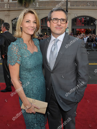 """Actors Nancy Walls, left, and Steve Carell arrive at the LA premiere of """"The Incredible Burt Wonderstone"""" at the TCL Chinese Theatre, in Los Angeles"""