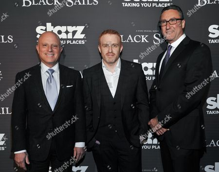 """From left, Chris Albrecht, Jonathan E. Steinberg, and Carmi Zlotnik arrive at the LA Premiere Screening of """"Black Sails"""" on in Los Angeles"""