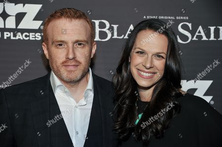 """Jonathan E. Steinberg, left, and guest arrive at the LA Premiere Screening of """"Black Sails"""" on in Los Angeles"""