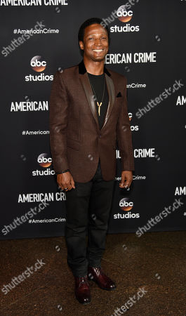 """Elvis Nolasco, a cast member in the television series """"American Crime,"""" poses at an Emmy For Your Consideration screening of the show at the Directors Guild of America, in Los Angeles"""