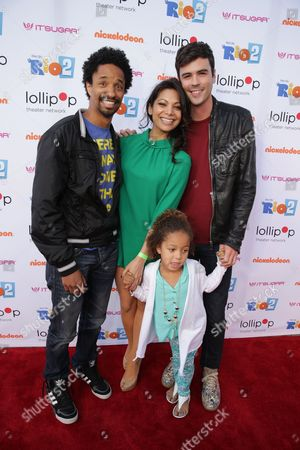 "Craig Frank, Ginger Gonzaga and Blake Lee seen at Lollipop Theater Network's ""A Night Under the Stars"" at Nickelodeon Animation Studios, in Burbank, CA"