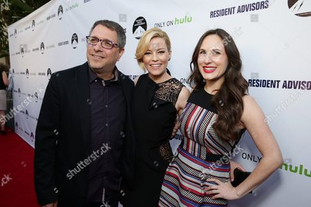 """Director Ira Ungerleider, Exec. Producer Elizabeth Banks and Exec. Producer Natalia Anderson seen at the Los Angeles premiere of Hulu and Paramount Digital Entertainment's """"Resident Advisors"""" at Paramount Studios, in Hollywood, CA"""