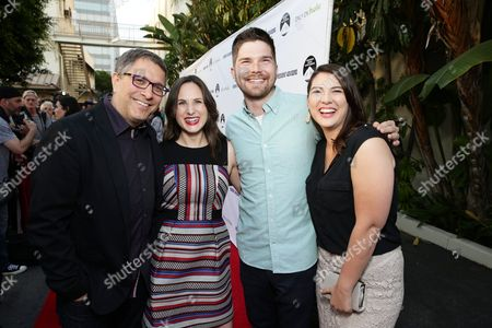 """Director Ira Ungerleider, Exec. Producer Natalia Anderson, Writer Alex Jenkins Reid and Writer Taylor Jenkins Reid seen at the Los Angeles premiere of Hulu and Paramount Digital Entertainment's """"Resident Advisors"""" at Paramount Studios, in Hollywood, CA"""