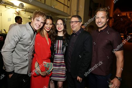 """Graham Rogers, Jamie Chung, Exec. Producer Natalia Anderson, Director Ira Ungerleider and Ryan Hansen seen at the Los Angeles premiere of Hulu and Paramount Digital Entertainment's """"Resident Advisors"""" at Paramount Studios, in Hollywood, CA"""