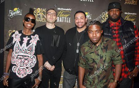 Stock Picture of Judges DJ Jazzy Joyce left, DJ Shiftee, DJ Skrible, DJ R-Tistic and host DJ Clark Kent attend the McDonald's Flavor Battle at Orbit, in New York