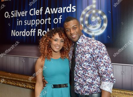 IMAGE DISTRIBUTED FOR O2 - Aimee Jade and Oritse Wiliams seen at the Nordoff Robbins O2 Silver Clef Awards 2013 at the London Hilton on Park Lane Hotel, in London