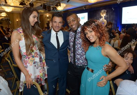 Emily MacDonagh, Peter Andre, Oritse Williams and Aimee Jade at Nordoff Robbins O2 Silver Clef Awards 2013 at the London Hilton, in London