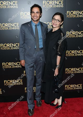 """Fashion designer Zac Posen, left, and writer Joan Juliet Buck attend the premiere of """"Florence Foster Jenkins"""" at AMC Loews Lincoln Square, in New York"""