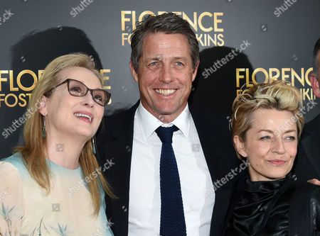 """Actors Meryl Streep, left, Hugh Grant and producer Tracey Seaward attend the premiere of """"Florence Foster Jenkins"""" at AMC Loews Lincoln Square, in New York"""