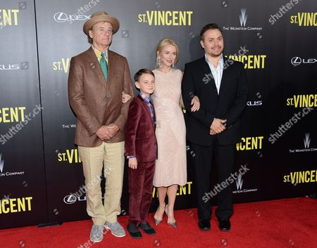 "Stock Image of Bill Murray, Jaeden Leiberher, Naomi Watts and Theodore Melfi attend the ""St. Vincent"" premiere at the Ziegfeld Theatre, in New York"
