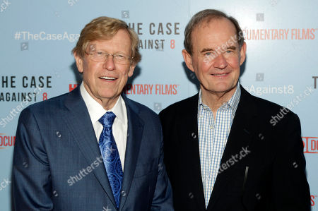 """Attorneys Ted Olson, left, and David Boies, right, attend a screening of """"The Case Against 8"""", in New York"""