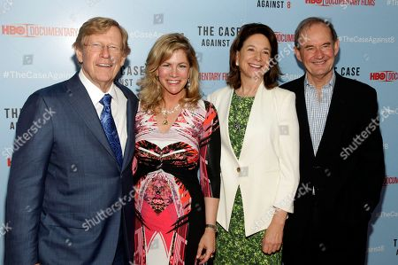 """From left, attorney Ted Olson, Lady Booth Olson, and attorneys Mary Boies and David Boies attend a screening of """"The Case Against 8"""", in New York"""