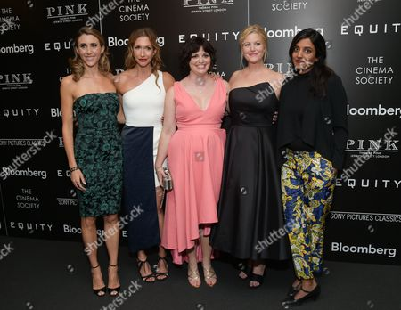"""Actors Sarah Megan Thomas, left, Alysia Reiner, writer Amy Fox, actor Anna Gunn and director Meera Menon attend a special screening of """"Equity"""", hosted by The Cinema Society and Bloomberg, at the Museum of Modern Art, in New York"""