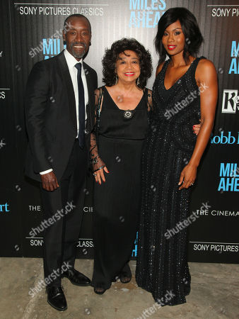 """Don Cheadle, from left, Frances Davis and Emayatzy Corinealdi attend the special screening of """"Miles Ahead"""" at Metrograph, in New York"""