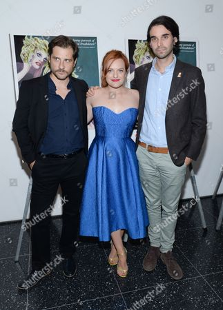 """Actor Kentucker Audley, left, actress Elisabeth Moss and director Alex Ross Perry attend the special screening of """"Queen of Earth"""" at The Museum of Modern Art, in New York"""