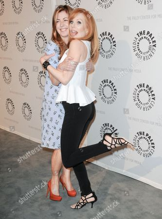 "Dana Delaney, left, and Marg Helgenberger arrive at the PaleyFest Previews Fall TV's Fall Flashback Reflection's: ""China Beach"" 25 Years Later at The Paley Center for Media on in Beverly Hills, Calif"