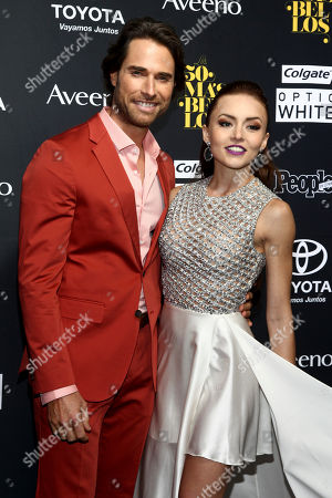 "Sebastian Rulli, left, and Angelique Boyer, right, attend the People en Espanol's ""50 Most Beautiful"" Issue Party at Espace, in New York"