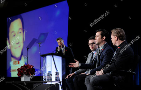 """Joseph Gordon-Levitt, second from left, creator, director, host and executive producer of """"HITRECORD ON TV,"""" addresses reporters as the show's executive producers Jared Geller, third from left, and Brian Graden, right, look on during Pivot's panel at the Winter 2014 Television Critics Association Press Tour, in Pasadena, Calif. At far left is Pivot president Evan Shapiro"""