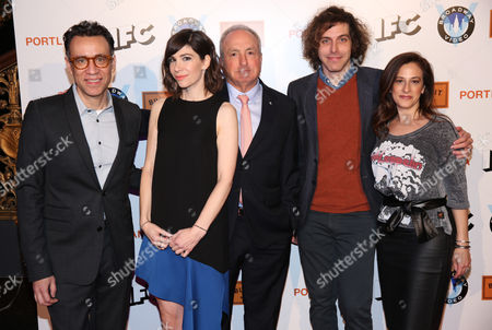 """Fred Armisen, from left, Carrie Brownstein, Lorne Michaels, Jonathan Krisel and Jennifer Caserta arrive at the """"Portlandia"""" season 5 premiere presented by Bulleit Bourbon at The Ace Hotel Downtown Los Angeles on"""