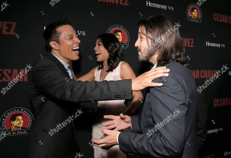 """Yancey Arias, Rosario Dawson and Diego Luna attend the Los Angeles premiere of Pantelion Films and Participant Media's """"Cesar Chavez"""" at the at the Chinese Theatre, in Los Angeles"""